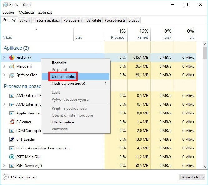 Správce úloh (task manager) Windows 10 - 09
