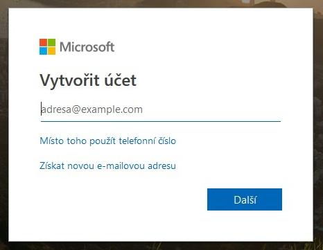 Vytvoření účtu Microsoft
