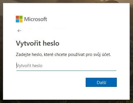 Vytvoření účtu Microsoft 2
