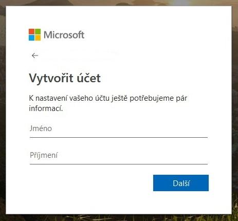 Vytvoření účtu Microsoft 3
