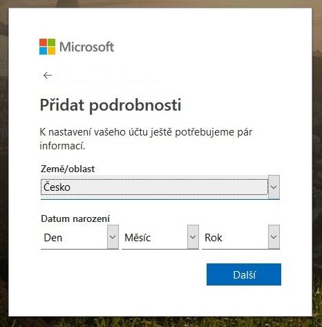 Vytvoření účtu Microsoft 4
