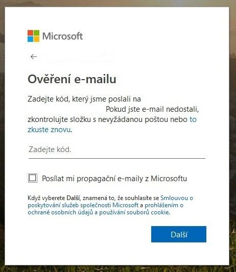 Vytvoření účtu Microsoft 5