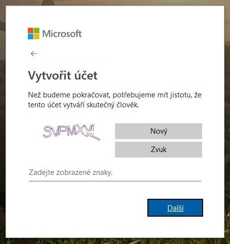 Vytvoření účtu Microsoft 6