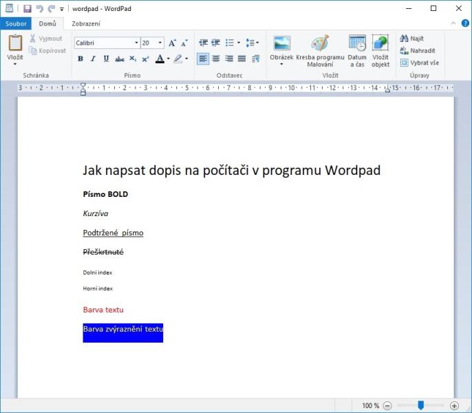 Jak napsat dopis na počítači v programu Wordpad