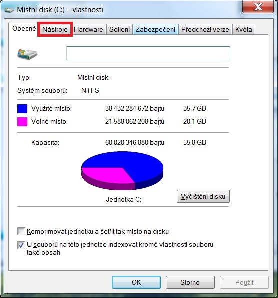 Defragmentace disku ve Windows 7 - 2