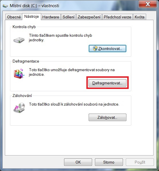 Defragmentace disku ve Windows 7 - 3