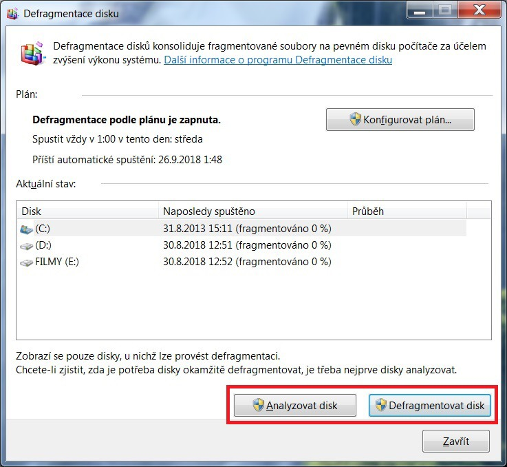 Defragmentace disku ve Windows 7 - 4