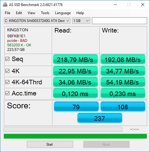 As Ssd benchmark kingston 240gb
