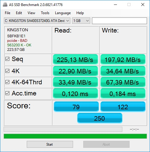As Ssd benchmark kingston 240gb 2