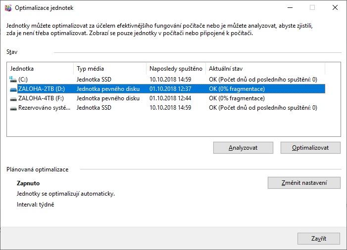 Defragmentace disku Windows 10 - 2