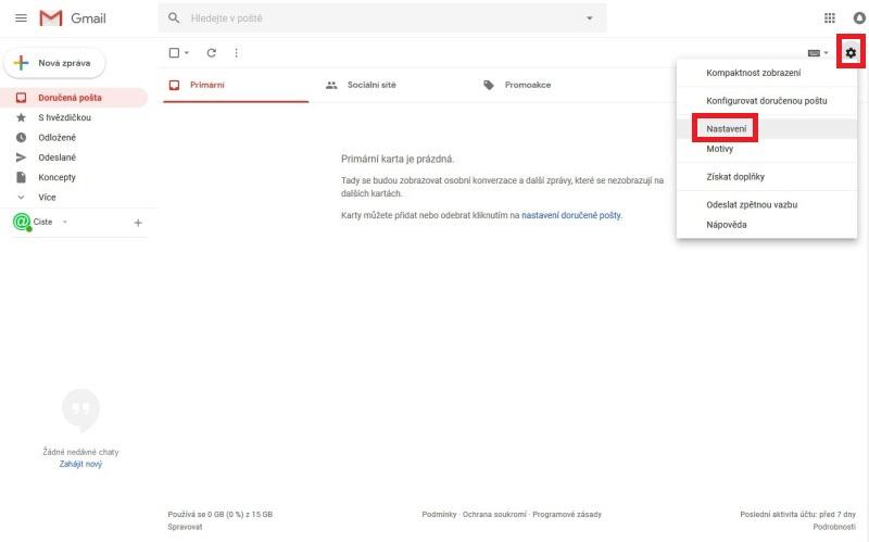 Gmail - nastavení přeposílání e-mailu 1