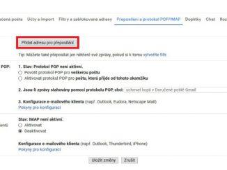 Gmail - nastavení přeposílání e-mailu 2