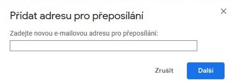 Gmail - nastavení přeposílání e-mailu 3