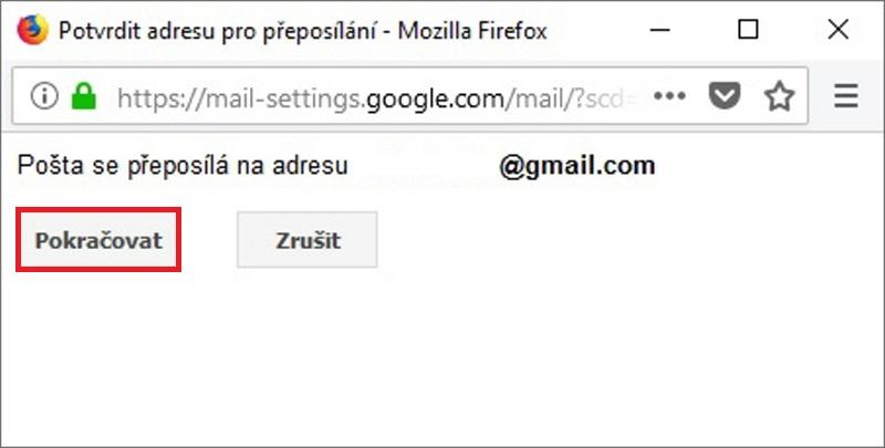 Gmail - nastavení přeposílání e-mailu 4
