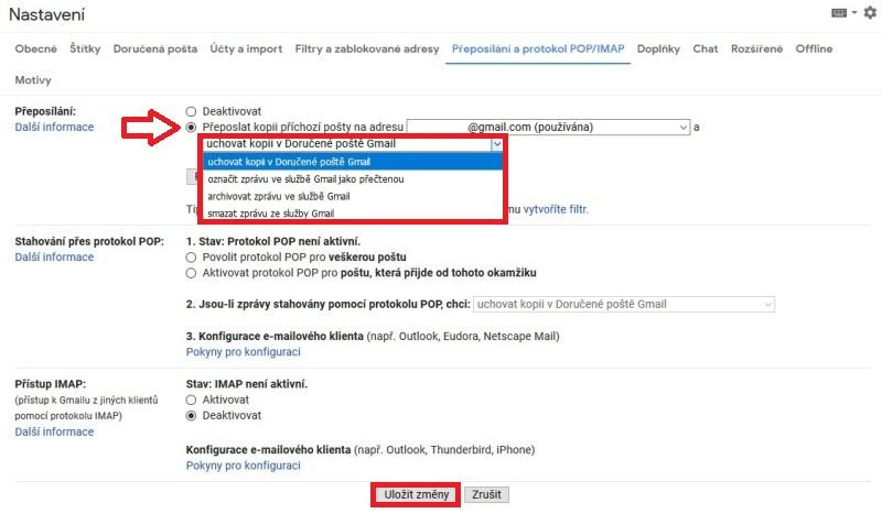 Gmail - nastavení přeposílání e-mailu 5