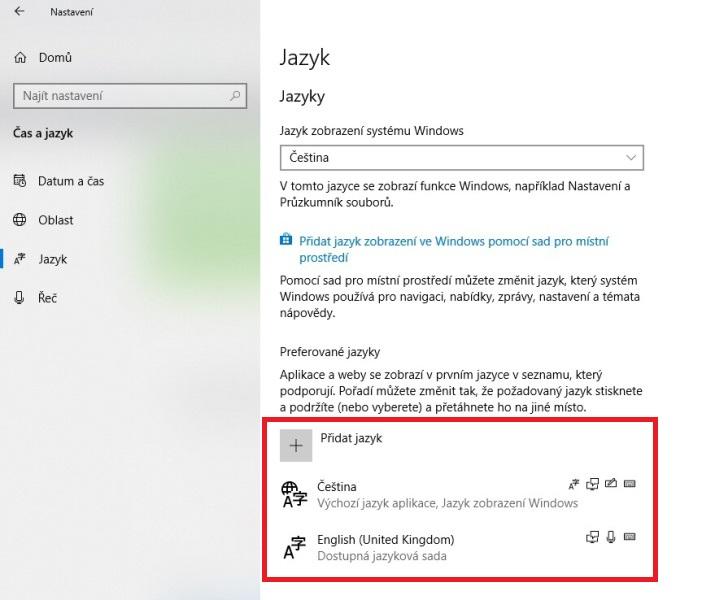 Jak změnit jazyk na klávesnici ve Windows 10