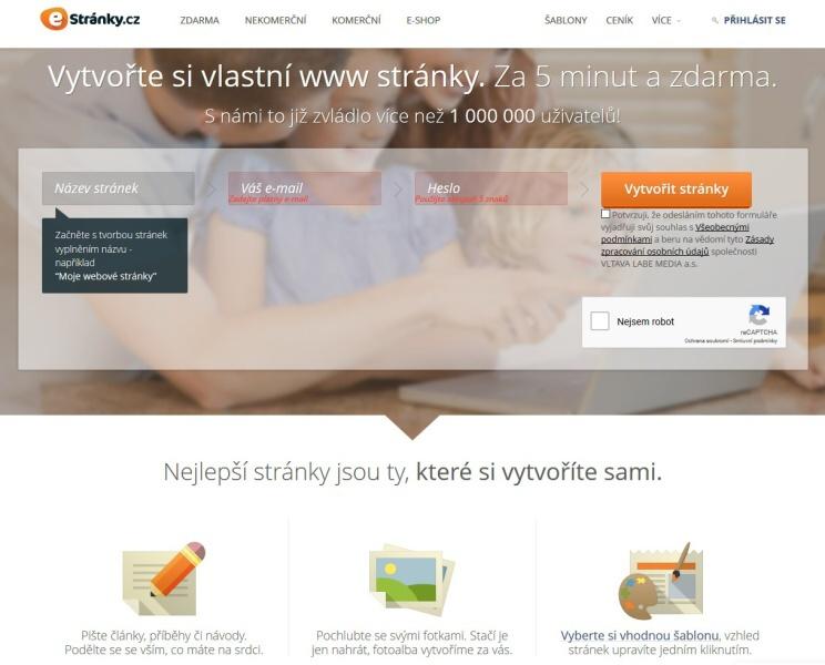 Estranky - webové stránky zdarma