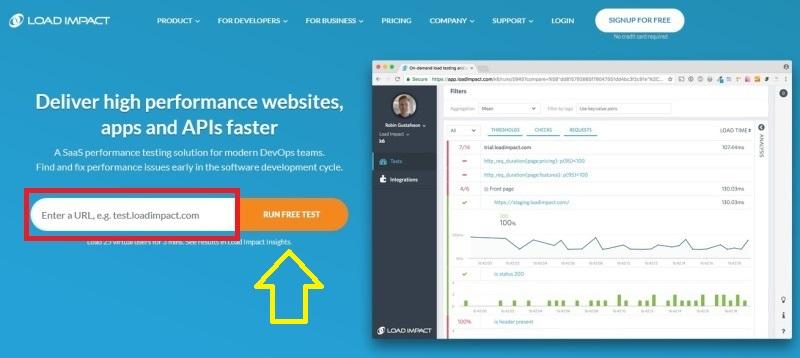 Load Impact - rychlost webu měření