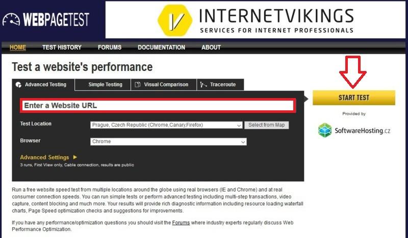 WebPagetest - rychlost webu měření