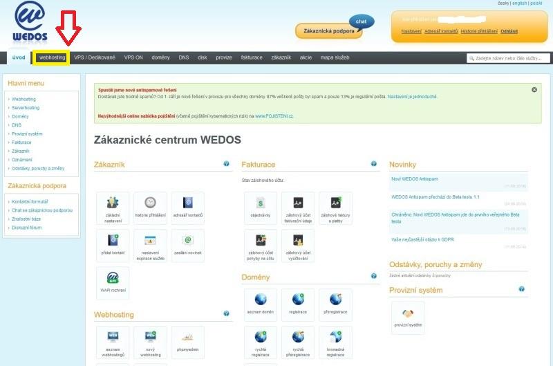 Wedos - Instalace WordPress jedním kliknutím