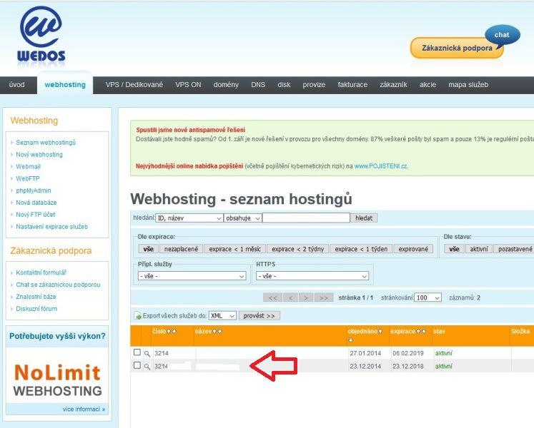 Wedos - Instalace WordPress jedním kliknutím 2