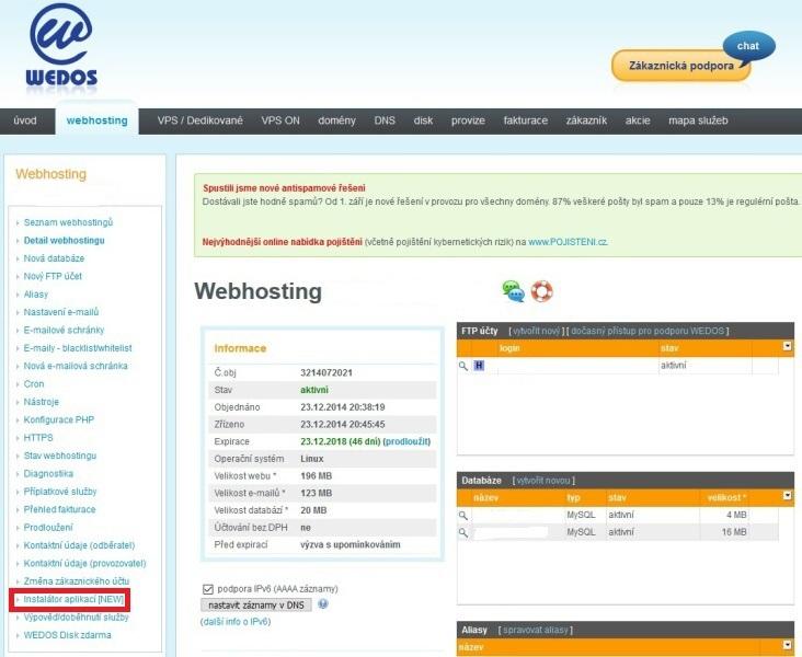 Wedos - Instalace WordPress jedním kliknutím 3