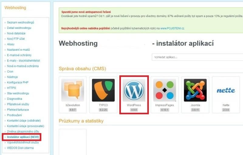 Wedos - Instalace WordPress jedním kliknutím 4