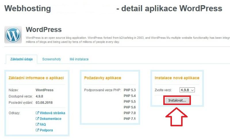 Wedos - Instalace WordPress jedním kliknutím 5