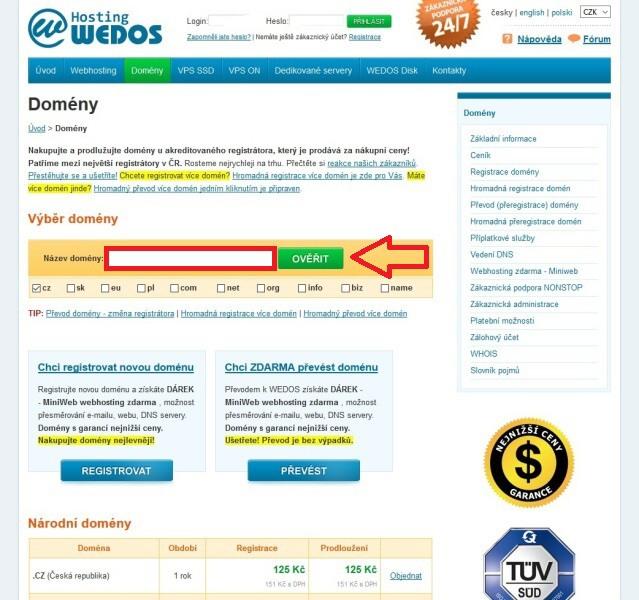 Wedos - registrace domény a objednání webhostingu