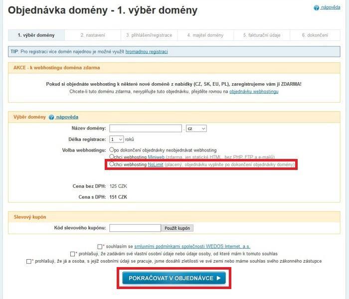 Wedos - registrace domény a objednání webhostingu 3