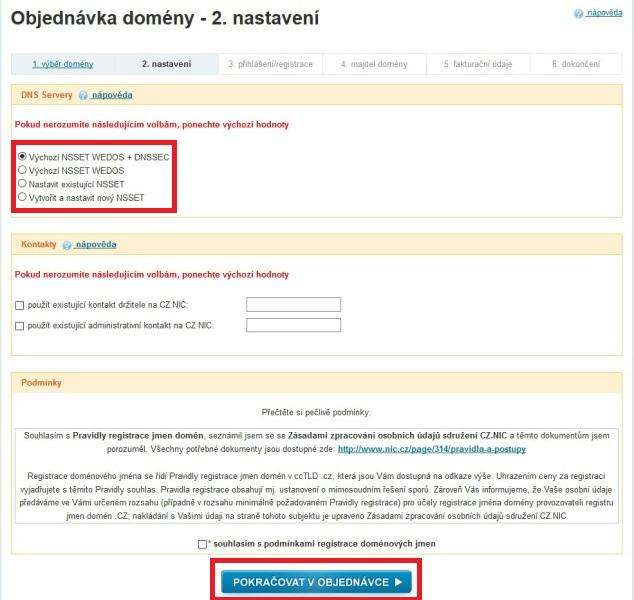 Wedos - registrace domény a objednání webhostingu 4