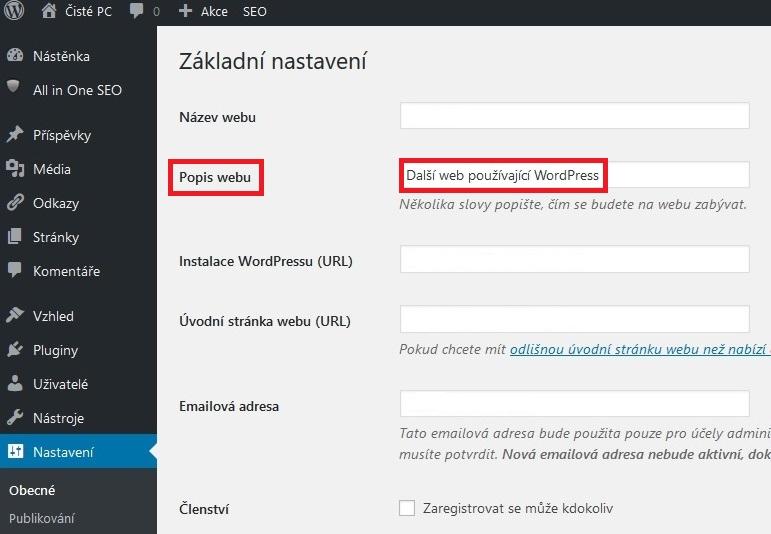 Další web používající WordPress - nastavení 2
