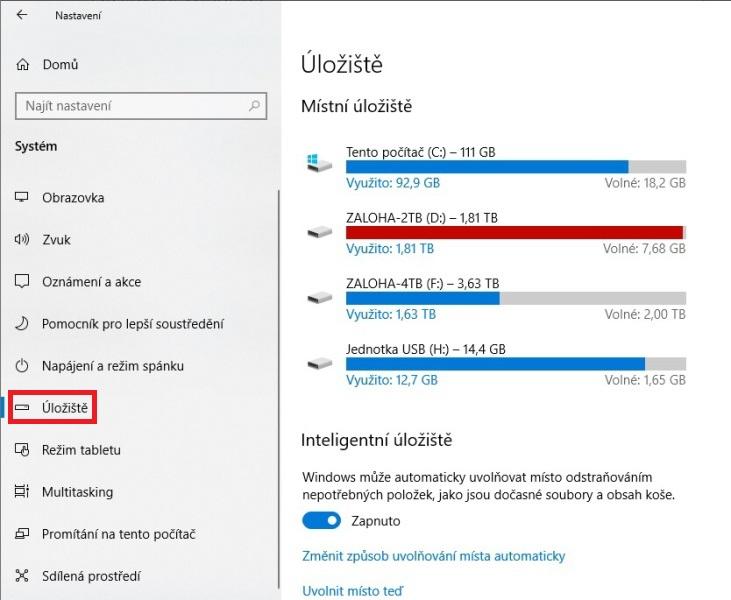 Využití úložiště - co zabírá nejvíc místa na disku ve Windows 10 - 2