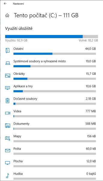 Využití úložiště - co zabírá nejvíc místa na disku ve Windows 10 - 3