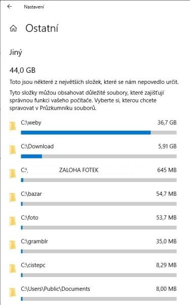Využití úložiště - co zabírá nejvíc místa na disku ve Windows 10 - 5