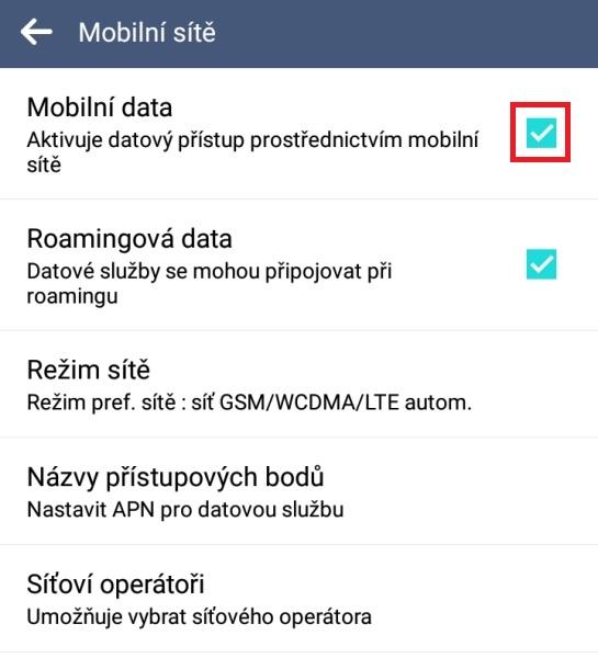 Mobilní data v telefonu 2