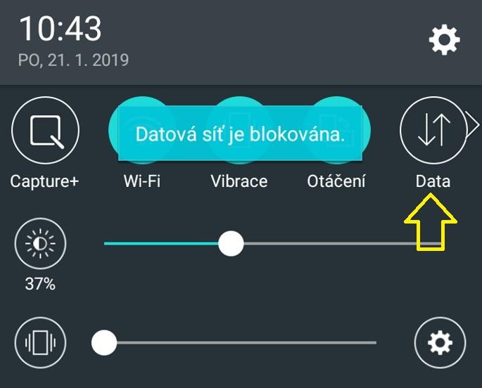 Mobilní data v telefonu 3