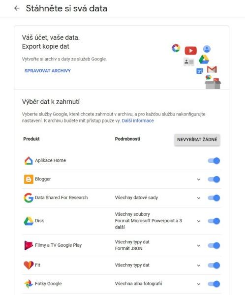 Stažení dat Google