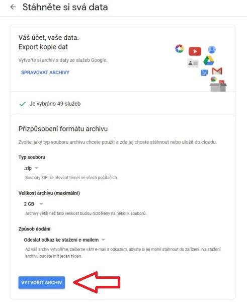 Stažení dat Google 3