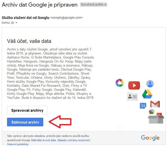 Stažení dat Google 5