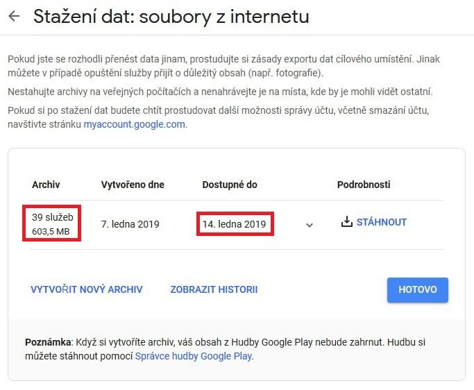 Stažení dat Google 6