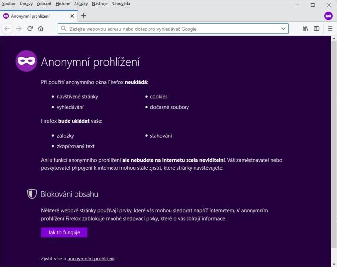 Anonymní režim Mozilla Firefox