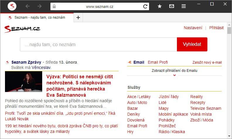 Anonymní režim Seznam prohlížeč
