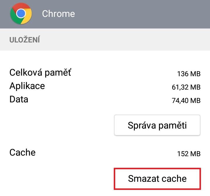 Jak smazat cache v telefonu android 6
