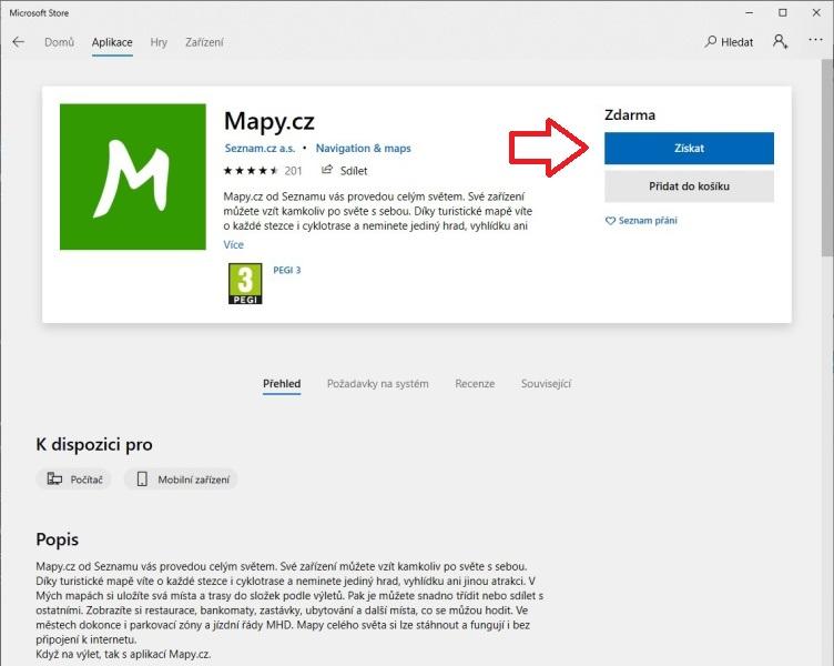 mapy.cz offline navigace ve windows10 01