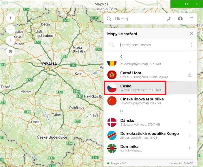 mapy.cz offline navigace ve windows10 03