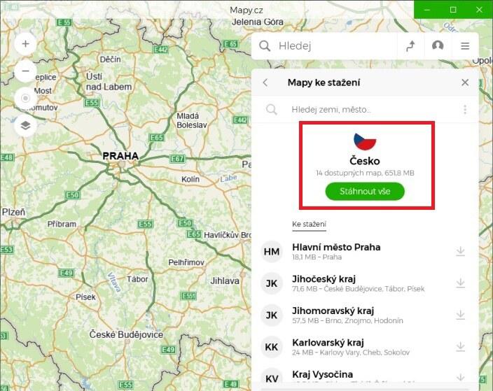 mapy.cz offline navigace ve windows10 04