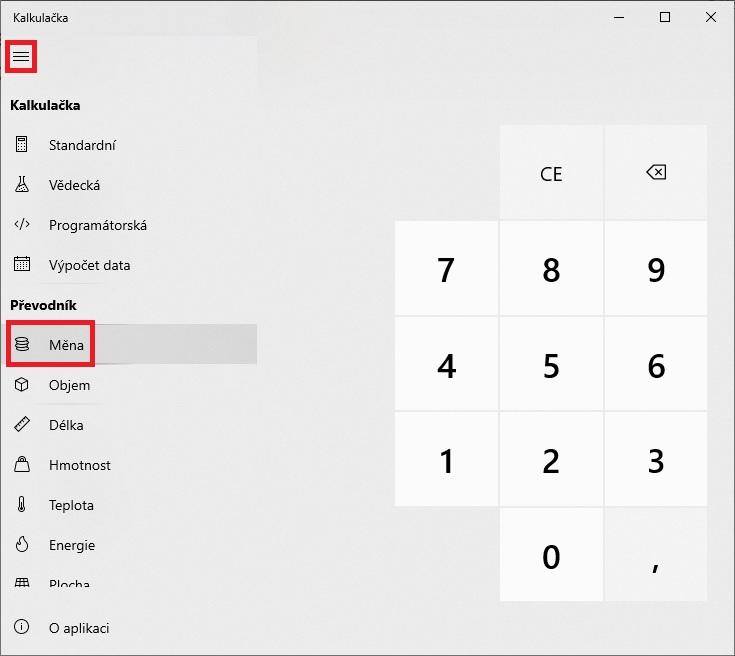 Převod měn - kalkulačka Windows 10