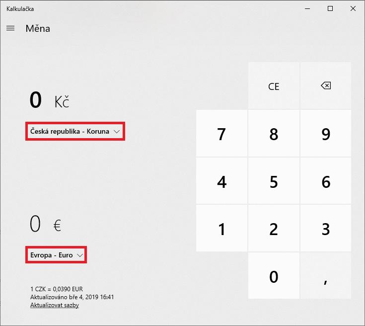 Převod měn - kalkulačka Windows 10 - 2