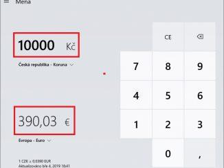 Převod měn - kalkulačka Windows 10 - 3